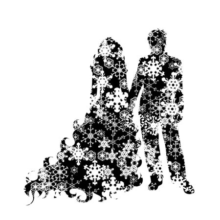 Vector silhouette of snowy couple on white background. Symbol of bride and groom on weeding in winter with snowflakes.