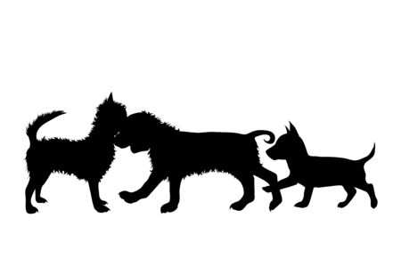 Vector silhouette of dog on white background. Symbol of group of pets who plays together.