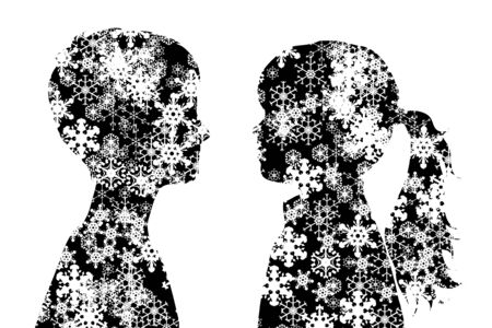 Vector silhouette of snowy profile girl and boy on white background. Symbol of child in winter with snowflakes.