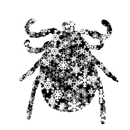 Vector silhouette of snowy thick on white background. Symbol of insect in winter with snowflakes.