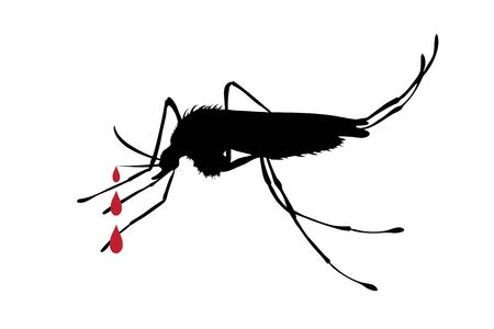 Vector silhouette no mosquito on white background. Symbol of stop malaria an other disease. 일러스트