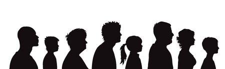 Siluetta di vettore del profilo di persone su priorità bassa bianca. Simbolo della famiglia generazionale. Vettoriali