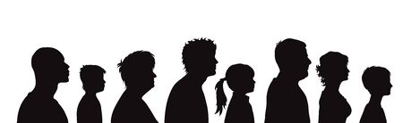 Vector silhouette of profile of people on white background. Symbol of genaration family. Ilustración de vector