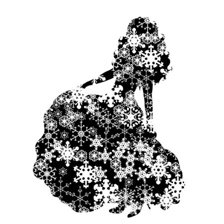 Vector silhouette of snowy woman on white background. Symbol of bride on the weeding in winter with snowflakes. Illustration