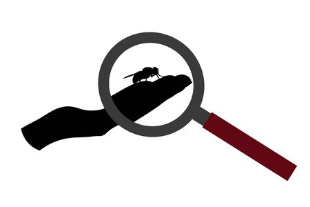 Vector silhouette of fly sitting in human palm under magnifying glass on white background. Symbol of insect who annoying people. Danger of tsetse disease. Ilustrace