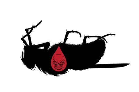 Vector silhouette of dead fly with skull on white background. Symbol of stop tsetse disease. Ilustrace