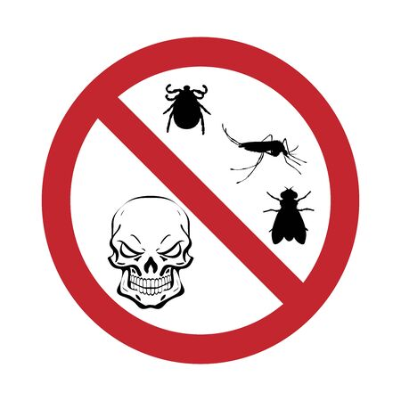 Vector silhouette of insect with skull prohibition mark on white background. Symbol of stop diseases.
