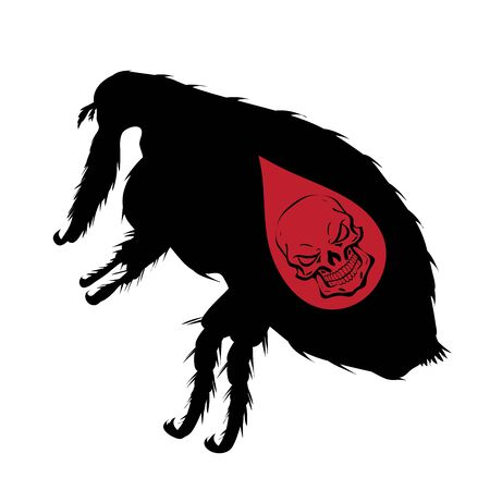 Vector silhouette of flea with skull on white background. Symbol of stop diseases.