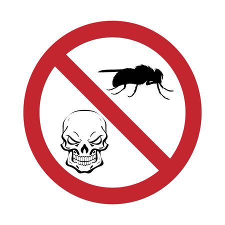 Vector silhouette of fly with skull prohibition mark on white background. Symbol of stop tsetse disease.