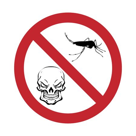 Vector silhouette of mosquito with skull prohibition mark on white background. Symbol of stop malaria and dengue disease.