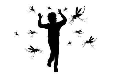 Vektorschattenbild des Jungen, der Moskito auf weißem Hintergrund wegläuft. Symbol für lästiges Insekt. Vektorgrafik
