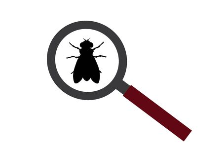 Vector silhouette of fly under magnifying glass on white background. Symbol of insect who annoying people. Danger of tsetse disease. Ilustrace