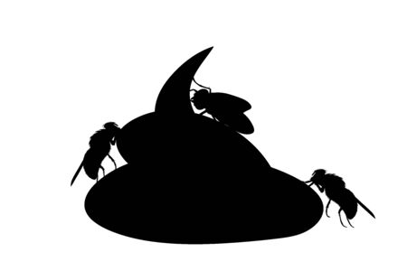 Vector silhouette of excrement with flies on white background. Symbol of insect on dog´s poop.
