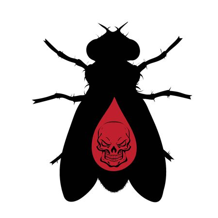 Vector silhouette of fly with skull on white background. Symbol of stop tsetse disease.