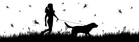 Vector silhouette of woman walking with dog on meadow with mosquitoes on white background. Symbol of nature with grass and insect. Stock Illustratie