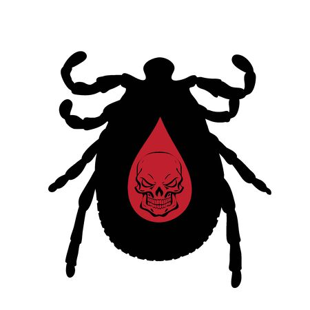 Vector silhouette of tick with skull on white background. Symbol of stop Lyme disease and encephalitis diseases. Illustration
