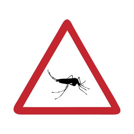 Vector illustration caution mosquito on white background. Symbol of attention on insect. Danger of malaria and dengue.