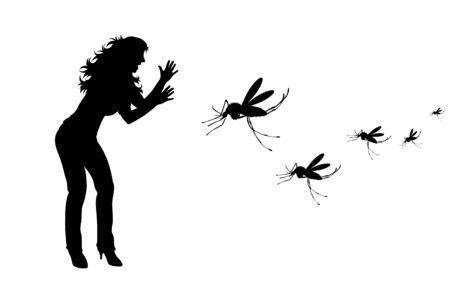 Vektor-Silhouette der Frau, die auf weißem Hintergrund zur Mücke weint. Symbol für lästiges Insekt.