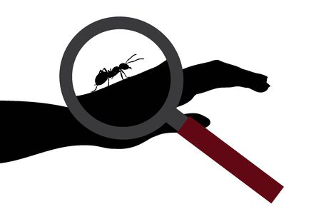 Vector silhouette of ant sitting on human hand under magnifying glass on white background. Symbol of insect who annoying people.