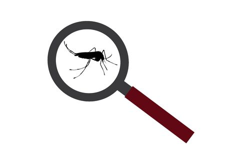 Vector silhouette of mosquito under magnifying glass on white background. Symbol of insect who annoying people. Danger of malaria and dengue disease.