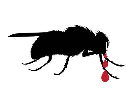 Vector silhouette of fly with drop of blood on white background. Symbol of stop tsetse disease.