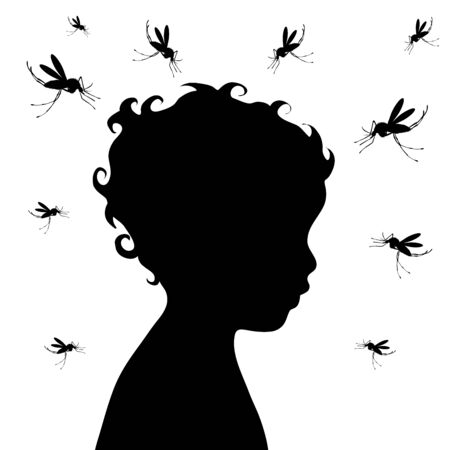 Vector silhouette of girl with mosquito on white background. Symbol of annoying and danger insect.