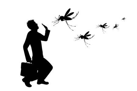 Vektor-Silhouette des Mannes, der auf weißem Hintergrund zur Mücke weint. Symbol für lästiges Insekt.