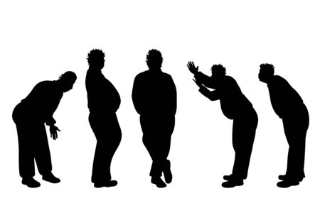 Vector silhouette of obese middle age men on white background. Symbol of person in different pose.