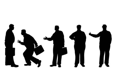 Vector silhouette of obese middle age men on white background. Symbol of businessmen in different pose.