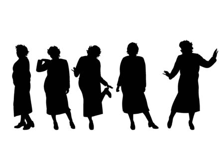 Vector silhouette of obese middle age women on white background. Symbol of person in different pose.