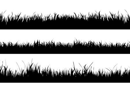 Siluetta di vettore dell'insieme di erba su priorità bassa bianca. Simbolo della natura.