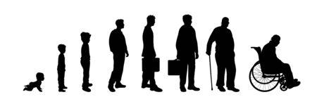 Siluetta di vettore dell'uomo in età diversa su priorità bassa bianca. Simbolo della generazione da bambino a persona anziana.