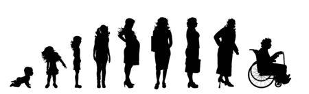 Silueta de vector de mujer de diferentes edades sobre fondo blanco. Símbolo de generación de niño a anciano.