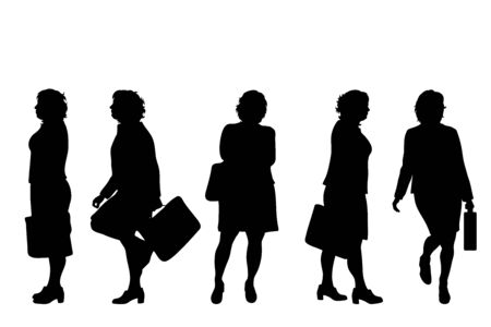 Vector silhouette of obese middle age women on white background. Symbol of businesswomen in different pose. Vectores