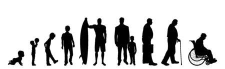 Silhouette vecteur de l'homme d'âge différent sur fond blanc. Symbole de génération de l'enfant à la personne âgée.