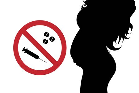 Vector silhouette of pregnant woman with no drugs sign on white background. Symbol of maternity and healthy care.