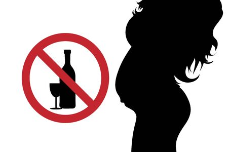Vector silhouette of pregnant woman with no drink alcohol sign on white background. Symbol of maternity and healthy care. Vector Illustration