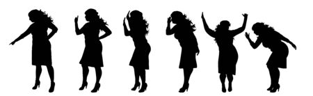 Vector silhouette of obese middle age women on white background. Symbol of lady in different pose.