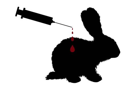Vector silhouette of testing on animal with injection and rat symbol. Sign of laboratory rabbit.