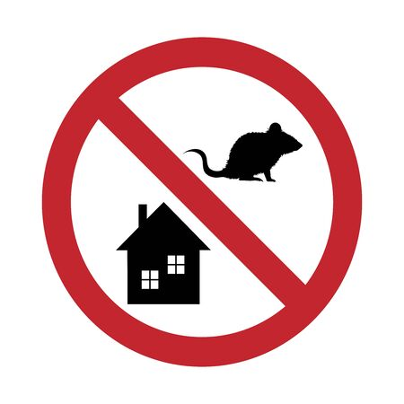 Vector silhouette of no rats at home mark on white background. Symbol of stop annoying rodent and protection house.
