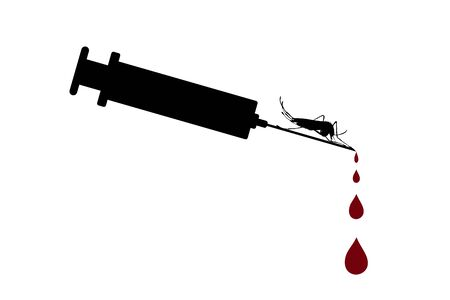 Vector silhouette of injection with drops of blood and mosquito on white background. Symbol of medical and healthy. Sign of threat of malaria disease. Ilustrace