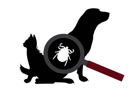 Vector silhouette of tick under magnifying glass sitting on dog and cat on white background. Symbol of insect who annoying animal. Danger of Lyme disease and encephalitis.