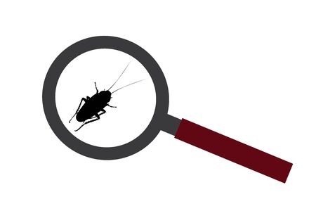 Vector silhouette of cockroach under magnifying glass on white background. Symbol of zoom annoying insect. 일러스트