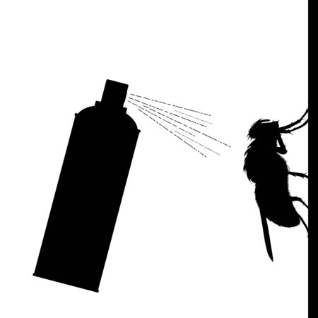 Vector silhouette of insect spray on white background. Symbol of annoying fly and pest control.