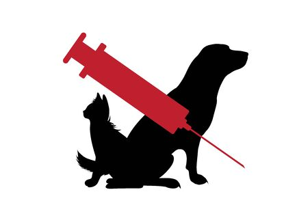Vector silhouette of dog and cat with vaccination symbol injection on white background. Sign animal testing character.