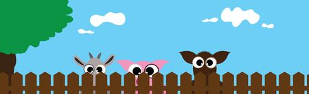 Vector illustration of farm animals face behind the fence. Symbol of curious and breeding.