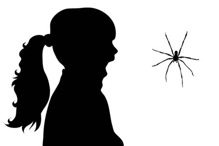 Vector silhouette of girl who fear spider on white background. Symbol of danger insect who people scary.