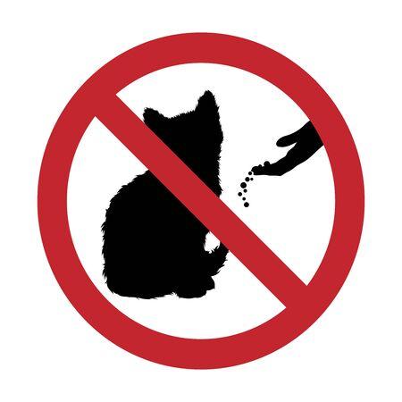 Vector silhouette of do not feeding cat mark on white background. Symbol of prohibition. Vecteurs