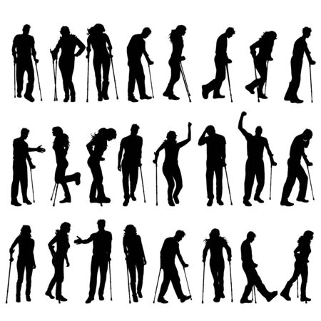 Vector silhouette of collection of disabled people. Symbol of man and woman with crutches.