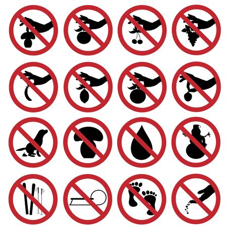 Vector illustration of collection of different prohibition signs on white background.